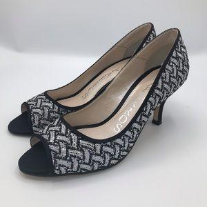 Black, White and Silver Peep Toe Heel